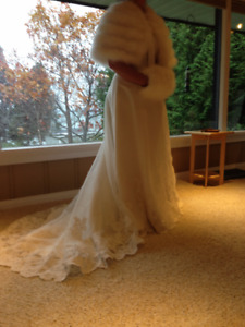 Wedding dress, cape, muff, headpiece, shoes, all brand new