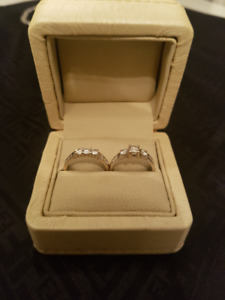 Engagement Ring set, 18k white gold, 0.5 ct VS1, 3 stone ring