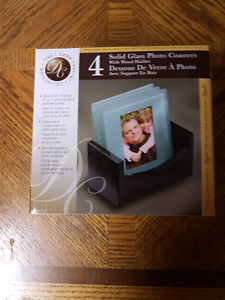 Solid glass photo coasters