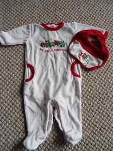 My First Christmas sleeper and bib – LIKE NEW - size 3-6 months