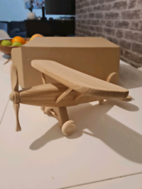 Hand carved wooden aeroplane