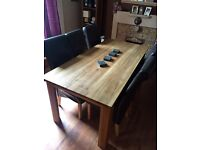 6 seater solid wood table and chairs