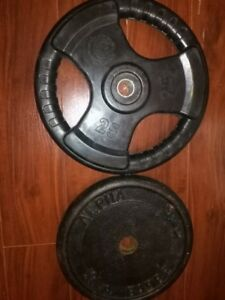 Two 25 pound weight plates (mismatched) - 1 inch hole