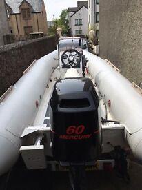 Narwhal 4.5m rib, Mercury 60 outboard
