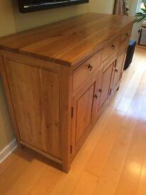 Solid oak sideboard 150cm by 90cm by 55cm