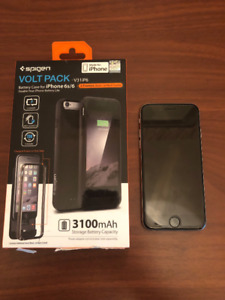iPhone 6, 128GB, Silver with Spigen Volt Pack Battery Case