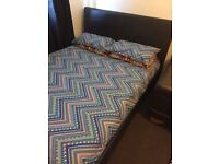Faux lather double bed with mattress