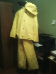 Yellow Rain Suit (Includes Jacket,Pants and Hood) Good Condition