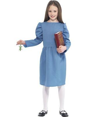 GIRLS ROALD DAHL MATILDA COSTUME BLUE DRESS FANCY DRESS OUTFIT WITH NEWT & - Roald Dahl Matilda Kostüm