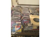 Astrology magazines x 120 + 6 Ring binder folders, two boxes, tarot cards and astrological charts.