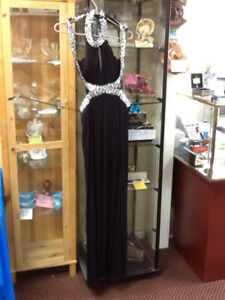 """black gown by """"deb"""" brand new,crystal accents"""