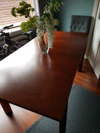 Extendable dining table mahogany 140 x 90 cm , 180 x 90 cm