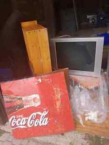 """SONY 36"""" TV & old Coke Sign !  Take BOTH and leave 24 BEER!"""
