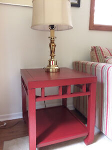 Fun modern coffee and end tables - red!