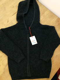 Mini Club Boys' Grey Sport Zip Up Hooded Top cardigan. Size 3-4 Years