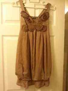 Robe chic couleur taupe -Small-Idéal pour bal, baptême,mariage