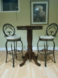 Elegant bistro table and bar stools