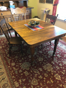 Antique dining table and harvest chairs
