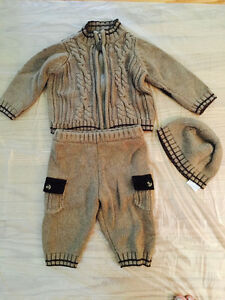3 Piece Cotton Knit Set (0 to 3 months) perfect for Fall/Winter