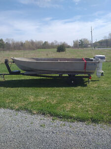 12' Aluminum boat, 9.9 Johnson and trailer