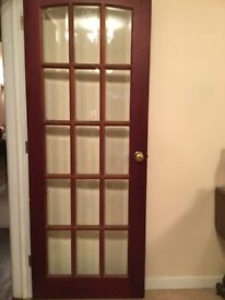 Three wood doors including hinges handle & latch