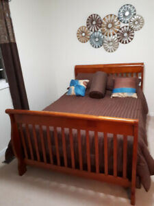 Double bed converts into crib with dresser
