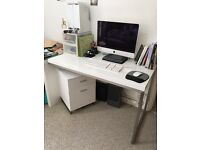 Dwell White Glossy Desk With Rotating Drawer Unit - RRP £399