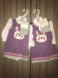2x M&S Indigo Collection 3-6 month girls outfit.
