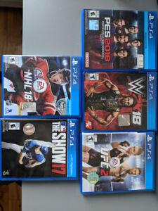 PS4 GAMES  , UFC 2 , WWE 2k18 , NHL 18 , PES 18 , MLB 17