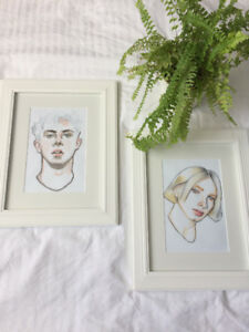 Original Framed Water Color Portrait Paintings