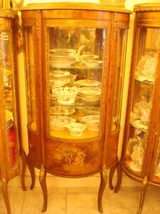 french curved glass curio cabinet