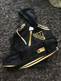 Boys 0-3 month black and gold Adidas Tracksuit