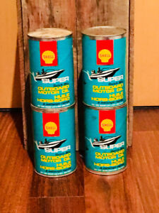 VINTAGE ADVERTISING SHELL OUTBOARD MOTOR OIL FULL CAN.