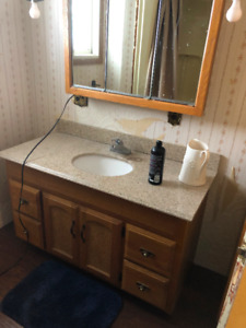 Vanity, top, tall cabinet, over toilet cabinet, toilet, & shower