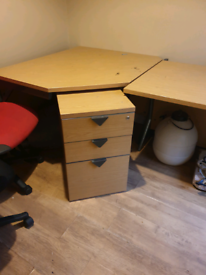 Office desk with chairs and drawers
