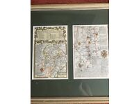Antique / Vintage Map Oxford to Coventry continued to Derby