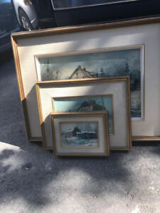 Keirstead textured prints - set of three - excellent condition