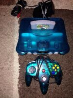 Ice blue N64 with Mario Kart! Mint!