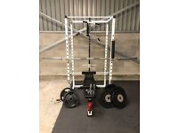 """Professional Power Cage - Includes Weights, Accessories, and Olympic 2"""" Bar"""
