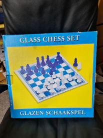 Glass Chess Board - Crystal Blue and Crsytal White