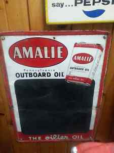 Rare 1956 AMALIE Outboard Motor Oil Chalkboard Tin Sign