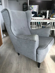 Grey Ikea Wing Chair