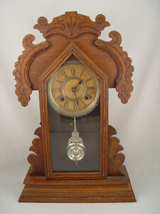 Antique 8 Day Gingerbread Clock Made by Ansonia Clock Co.