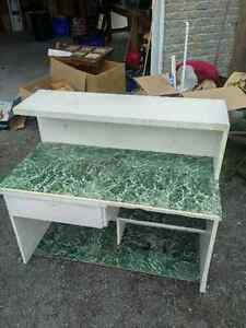 White Work / garden table w/ hutch (free w/ pick up)