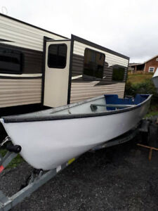 15 Ft. Fiberglass Cape Style Boat /17 Ft. Galvanized Trailer
