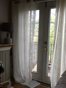 Full length Semi-Sheer White Curtains--Rod Included
