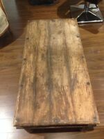 Solid antique coffee table. Wood and metal. Mint