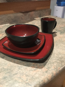 Red & Black Ceramic Dishes