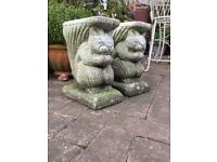 2 squirrel garden bench ends (plant stands also?)