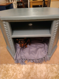 Solid pine TV unit with cosy pet sleeping area